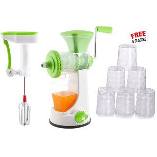 Ankur Master Kitchen Combo Pack of Manual Juicer Handblender+ Free 6 Glasses