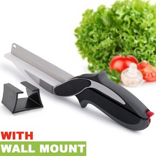 Premium Quality Stainless Steel Easy Cutter 2 in 1 Clever Knife and Cutting Board For Picture Perfect Vegetables, Fruit,
