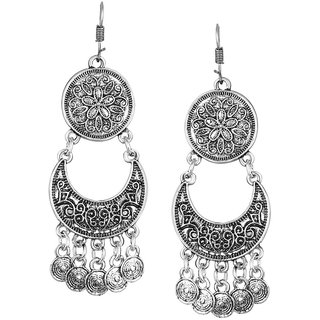 ShoStopper Oxidised Afghani Style Rhodium Plated Earring SJ6121EN