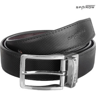 SPAIROW  Men'S  Reversible Black/Brown Leather  Belts  (PG-040102R)