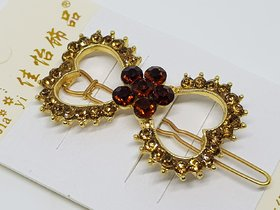 FashionZon New Styling Golden Embedded Stones Of Hair Clips