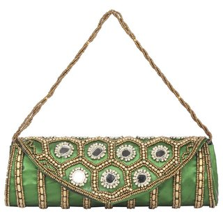Aliado Cloth/Textile/Fabric Embellished Green Magnetic Snap Fold Over Clutch