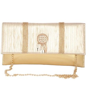 Aliado Faux Leather Embellished Golden Magnetic Snap Closure Crossbody Bag P382