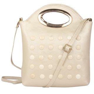 Aliado Faux Leather Embellished Cream Zipper Closure Crossbody Bag