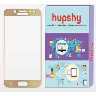 Hupshy Samsung Galaxy J7 Pro Tempered Glass Screen Protector Edge to Edge Fit 9H Hardness Bubble Free Anti-Scratch Crystal Clarity 2.5D Curved Screen Guard for Samsung Galaxy J7 Pro Gold