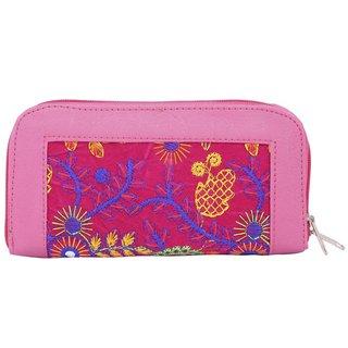 Aliado Faux Leather Embroidered Pink & Multi Zipper Closure Clutch
