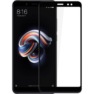 Hupshy Redmi Note 5 Pro Tempered Glass Screen Protector Full Glue Edge to Edge Fit 9H Hardness Bubble Free Anti-Scratch Crystal Clarity 2.5D Curved Screen Guard for Redmi Note 5 Pro - Black (FTG01)