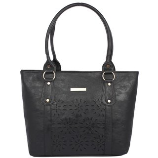 Aliado Faux Leather Black Coloured Zipper Closure Handbag P225