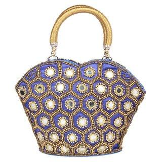 Aliado Cloth/Textile/Fabric Embellished Blue Zipper Closure Handbag
