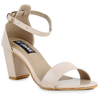 Sapatos Beige Block Heels For Women