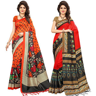 64a589cd53c410 Buy Indian Beauty Women's Multi Color Mysore Silk With Jhalar Saree With  Blouse Piece (Pack Of 2) Sarees Online - Get 75% Off