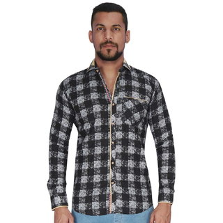Black with White Over Checks Print Shirt By Corporate Club