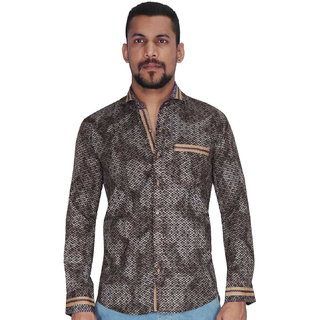 Brown with White Print Shirt By Corporate Club