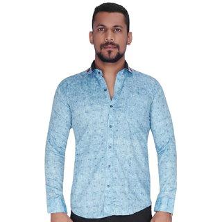 Sky Blue with Black  White Random Print Shirt By Corporate Club