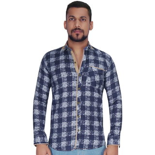Navy with White Over Checks Print Shirt By Corporate Club