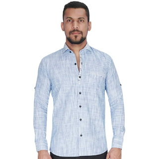 Dyed Yarn Waffle Blue Fabric Shirt By Corporate Club