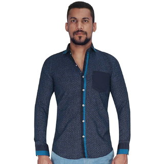 Black Groung with Blue Dot Print Shirt By Corporate Club