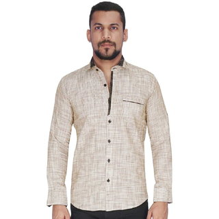 Dyed Yarn Waffle Brown Fabric Shirt By Corporate Club