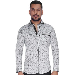 Disperse Print Grey with Flower Print Shirt By Corporate Club