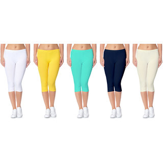 Lili Bio-Wash 220 GSM Premium Ultra Soft Calf Length Capri - 20+ Best Selling Colors Pack of 5 (Free Size)