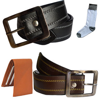 Sunshopping mens black and brown leatherite needle pin point buckle belt combo with white socks and tan wallet (Pack of four)