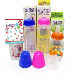 Combo Set of 4 Baby Feeding Bottle 250ml Plain, 150ml Print, 150ml Spoon and 250ml Round Plain Feeding Bootle