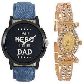 Varni Retail Black Dial Blue Strap Men And Diamond Gold Ladies Combo Watch For Couple  Hero-LoremAKSVR