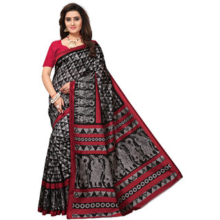 Meia Womens Black Colored Printed Silk Saree with Unstitched Blouse Piece