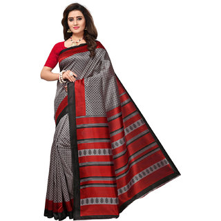 Swaron Women's Grey Colored Printed Silk Saree with Unstitched Blouse Piece