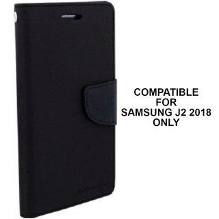 new concept b9a34 a3770 BRAND FUSON Mercury Goospery Fancy Diary Wallet Flip Cover for Samsung  Galaxy J2 2018 Premium Quality - Black