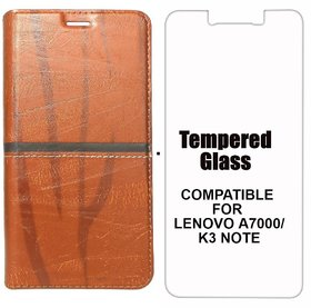 Rich Boss Fancy Diary Wallet Flip Case Cover for Lenovo A7000 / Lenovo K3 Note (Light Brown)+ Tempered Glass Premium Quality by MOBIMON