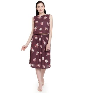 Tunic nation Printed Georgette Sleevless Wine Dress