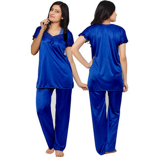 Women's Plain Satin Night Suit (Top and Pyjama)(Size - Medium and XL)