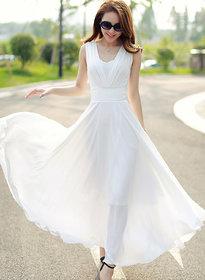 ANB-007 Westchic White V-Neck Long Dress