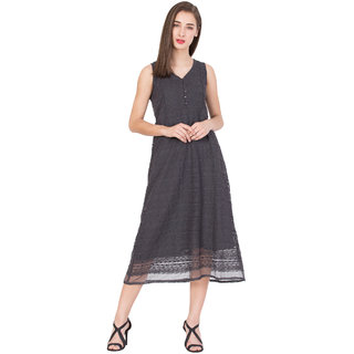 BOXYMOXY  women's western embroidered net regular sleeveless dress (Size:Medium) - Grey