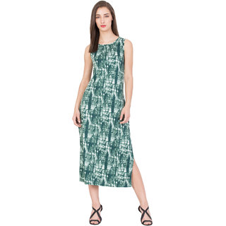 BOXYMOXY women's printed sleeveless regular casual long dress (Size:Medium)