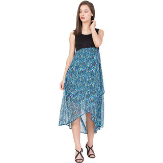 BOXYMOXY women's printed A-Line Sleeveless Midi Dress (Size:Small) - Black/Blue