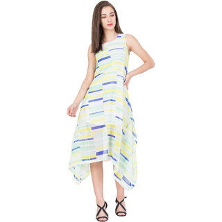 BOXYMOXY women's printed sleeveless casual printed assymetric lond dress with back zip (Size:Medium)