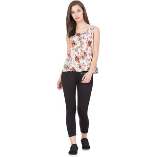BOXYMOXY women's floral printed stylish swing top with lace on back and shoulder (Size:Small)