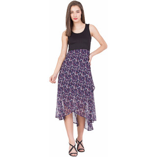 BOXYMOXY women's printed A-Line Sleeveless Midi Dress (Size:Large) - Black/Purple