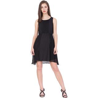 BOXYMOXY women's printed sleeveless stylish high low hem (Size:Small) - Black