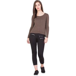 BOXYMOXY women's stylish regular 100% cotton knitted Pointtelle with long sleeves for casual wear (Size:Extra Large) - Brown