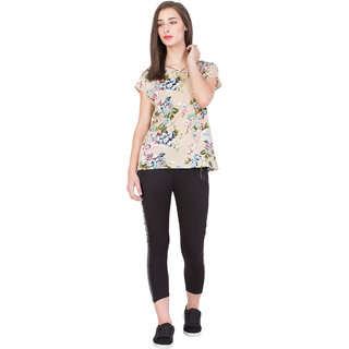 BOXYMOXY women's boxy top floral printed stylish extended shoulder sleeve top for casual wear(Size:Medium)