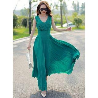 ANB-006 Westchic Green V-Neck Long Dress