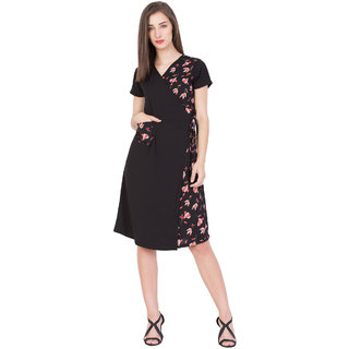 BOXYMOXY women's floral printed stylish wrap dress with pocket for casual and party (Size:Large)