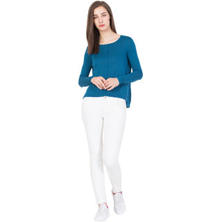 BOXYMOXY women's stylish long sleeve casual knitted top (Size:Small) - Blue
