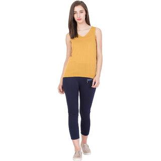 BOXYMOXY women's stylish sleeveless knitted tank top (Size:Medium) -  Yellow