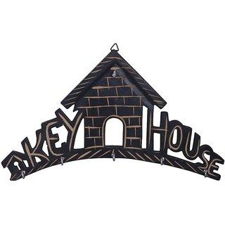 Triple S Handicrafts Wooden Hut Shaped Black  Key Holder with 6 Hooks