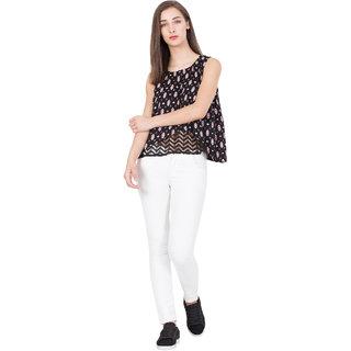 BOXYMOXY women's stylish sleeveless casual printed lace net crossover top (SizeSmall)