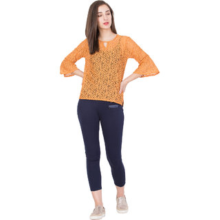 BOXYMOXY women's stylish casual lace net fabric top (SizeLarge) -  Orange